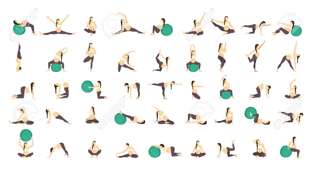 Workout For Pregnant Set Exercises With Fit Ball Yoga Training Royalty Free Cliparts Vectors And Stock Illustration Image 67778874