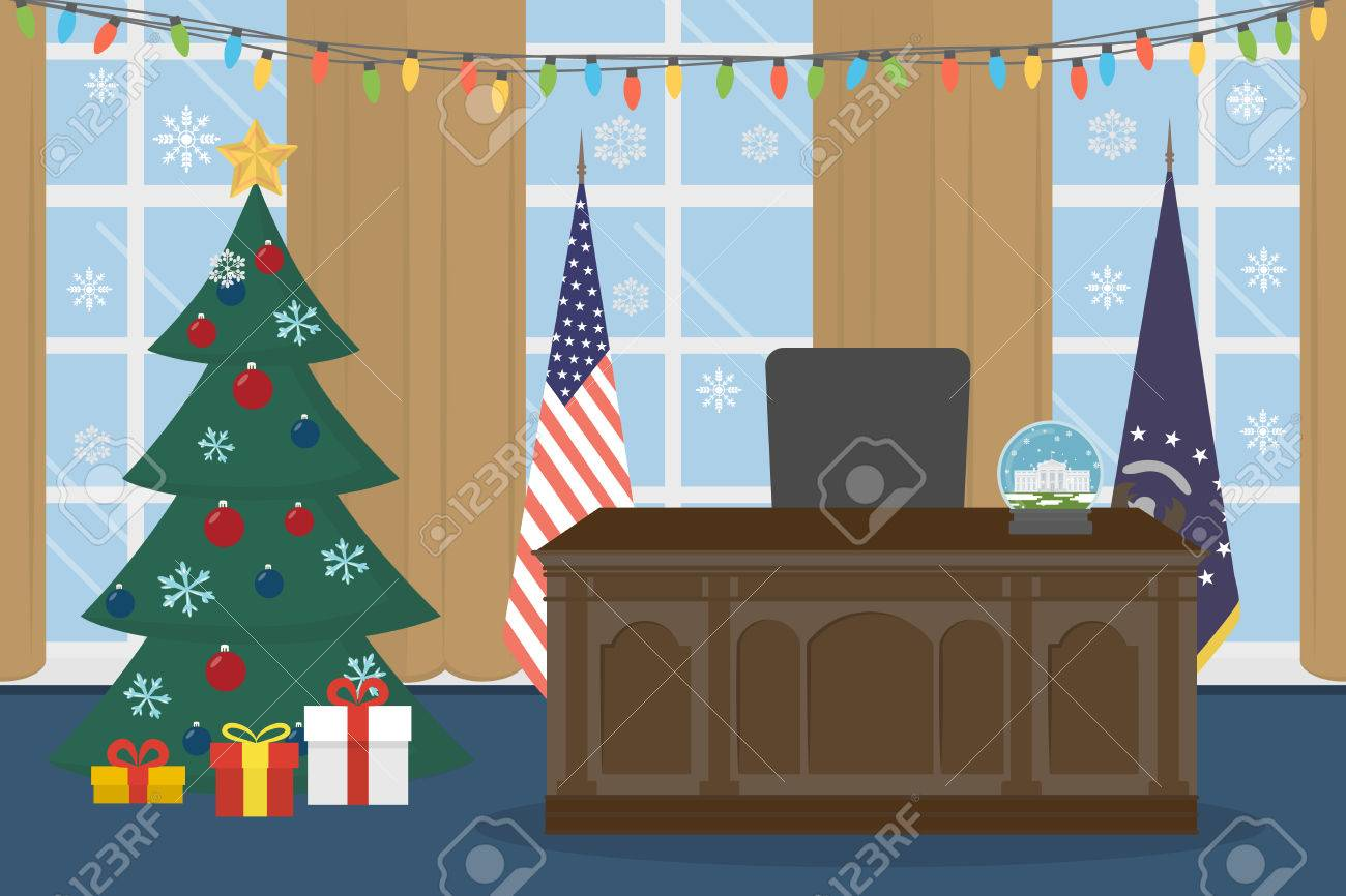 the white house oval office. Oval Office In The White House With Christmas Tree. Stock Vector - 68218614 O