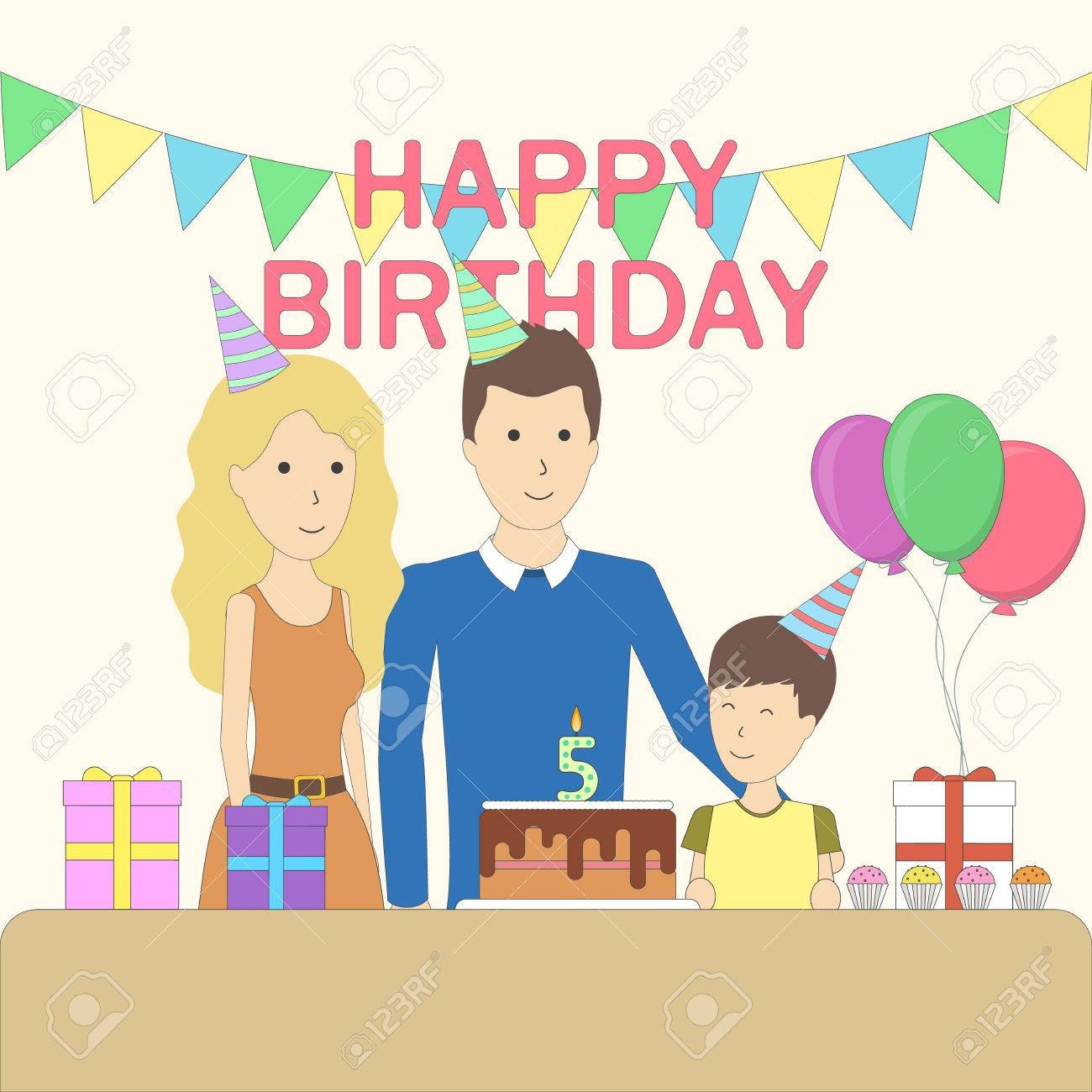 Isolated Birthday Family In The Room With Decoration Happy Parents