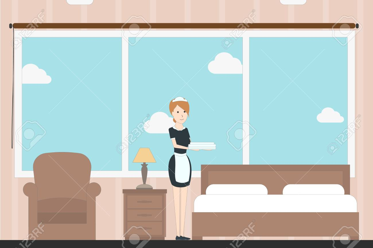 Hotel Room Service With Room Maid Contemporary Design Hotel Royalty Free Cliparts Vectors And Stock Illustration Image 68826244