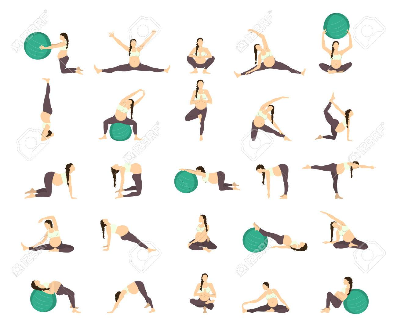 Workout For Pregnant Set Exercises With Fit Ball Yoga Training Royalty Free Cliparts Vectors And Stock Illustration Image 68826261