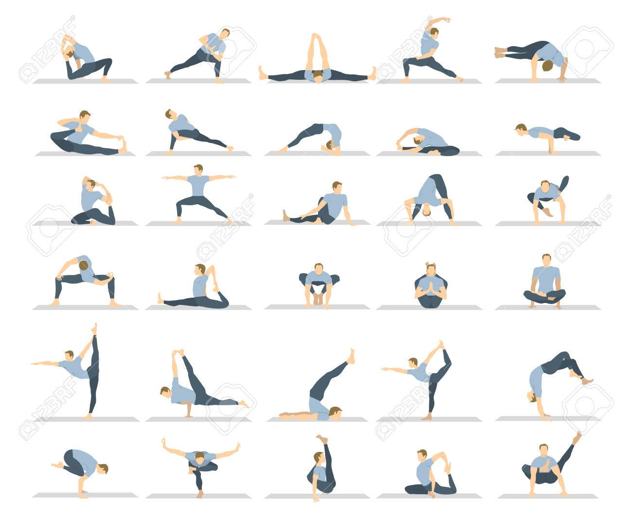 Yoga Workout Set On White Background Different Poses And Asanas Royalty Free Cliparts Vectors And Stock Illustration Image 68826286