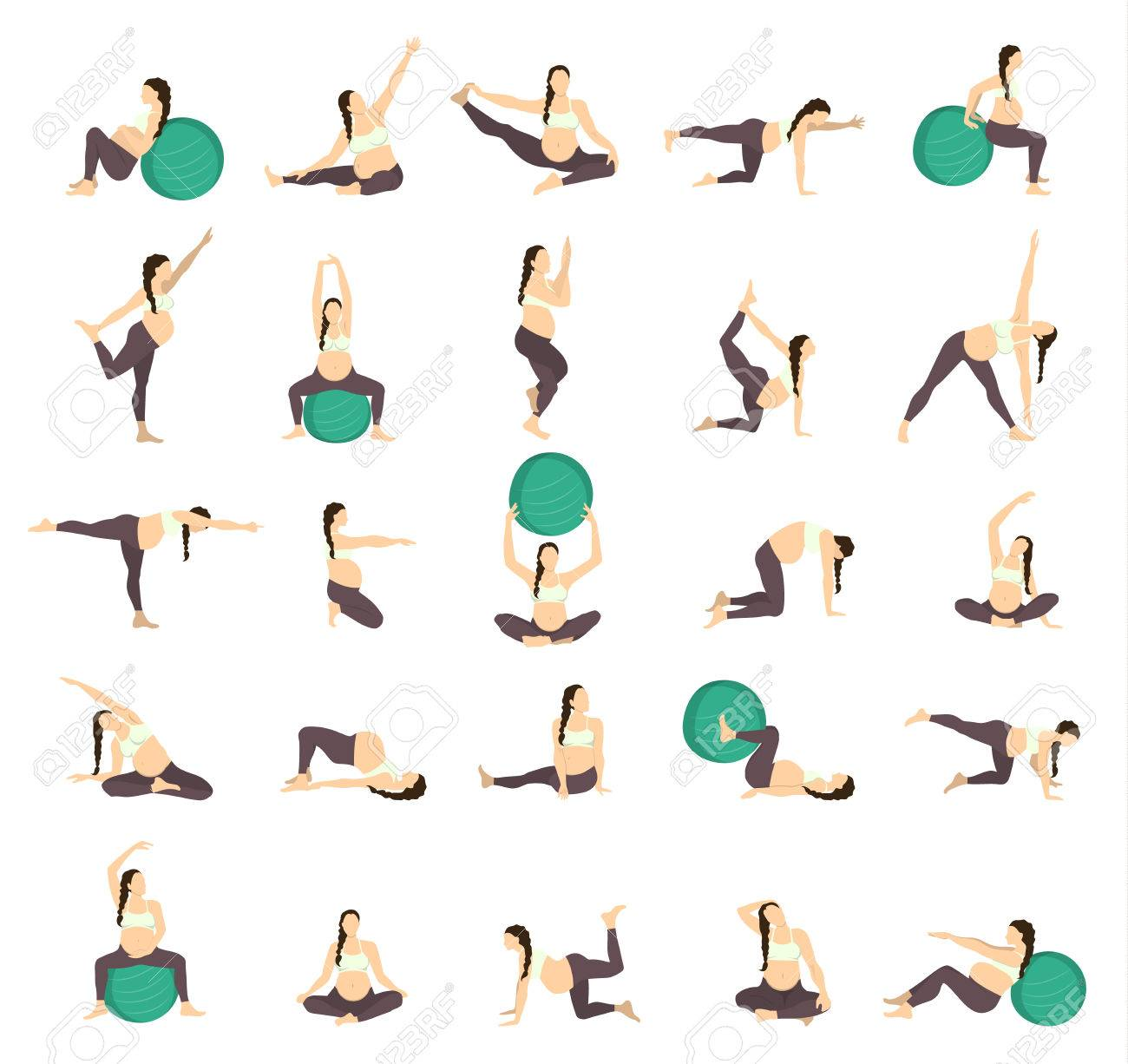 Workout For Pregnant Set Exercises With Fit Ball Yoga Training Royalty Free Cliparts Vectors And Stock Illustration Image 68841751