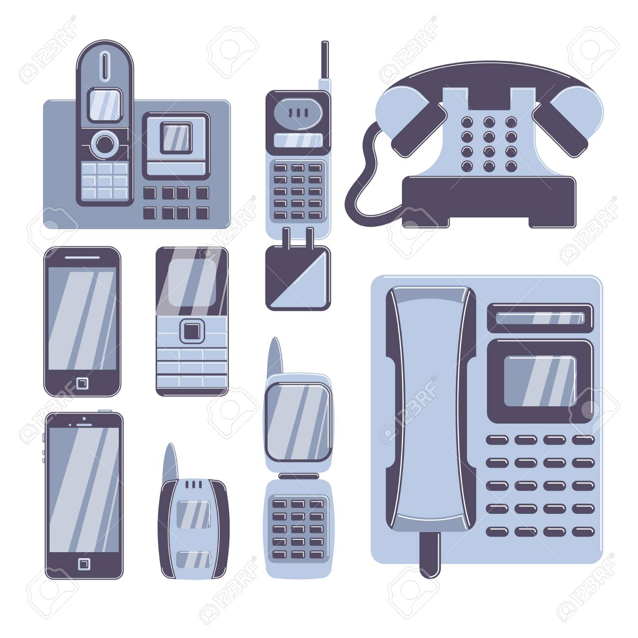 Retro phones set on white background. Folder phones, button phones and smartphones. - 70202399