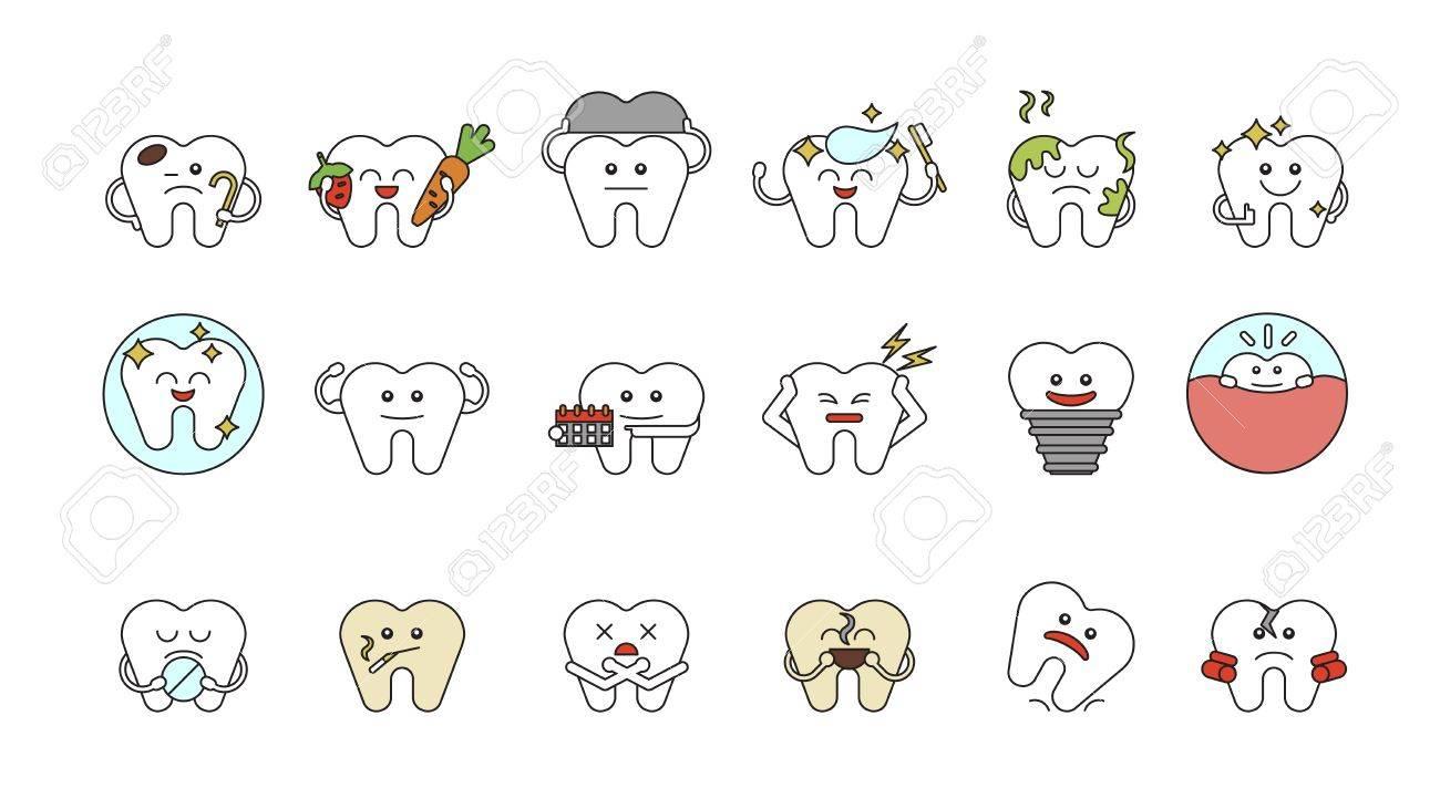 Dentes Engracados Ajustados No Fundo Branco Conceito De