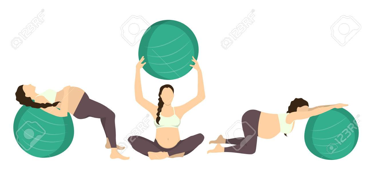 Workout For Pregnant Set Exercises With Fit Ball Yoga Training Royalty Free Cliparts Vectors And Stock Illustration Image 70027519