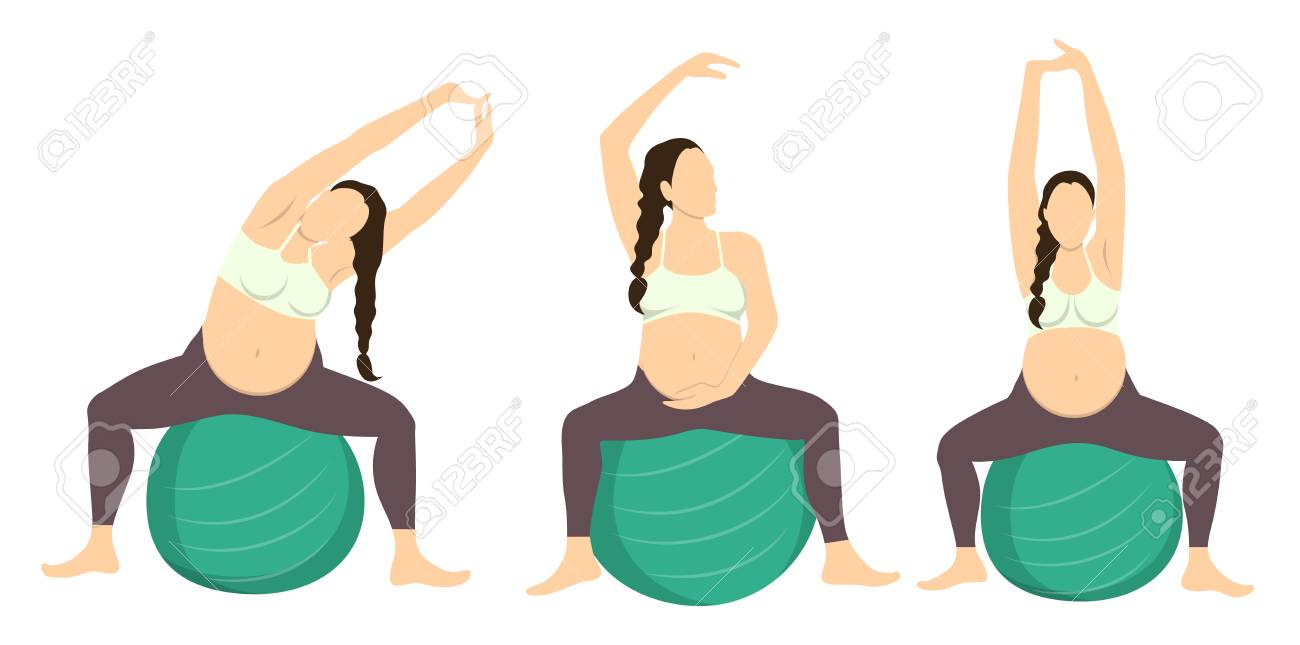 Workout For Pregnant Set Exercises With Fit Ball Yoga Training Royalty Free Cliparts Vectors And Stock Illustration Image 70027523