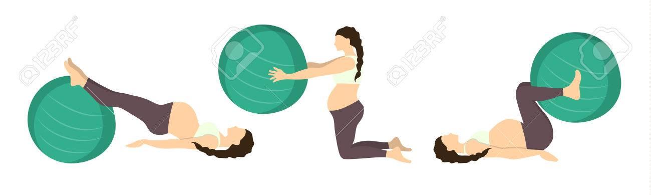 Exercice Pour Une Seance De Grossesse Exercices Avec Ballon En Forme Formation De Yoga Soins De Sante Pour Les Jeunes Meres Exercice De Jambe Clip Art Libres De Droits Vecteurs Et