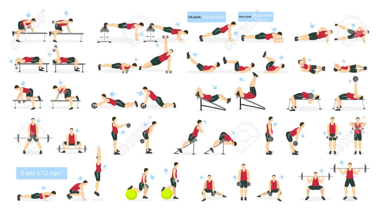 Workout man set fat man doing fitness and yoga exercises lunges fat man doing fitness and yoga exercises lunges and squats plank and abc full body workout altavistaventures Images