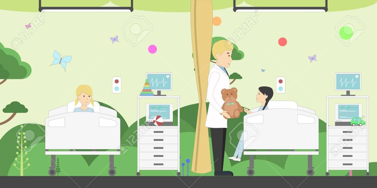 Funny Cartoon Hospital Pics children ward in hospital. funny cartoon interior. male doctor..