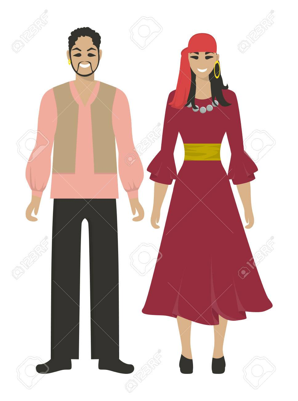 Isolated gypsy couple on white background  Romani people in national