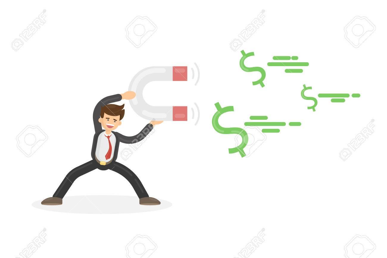 Geschäftsmann Zieht Geld