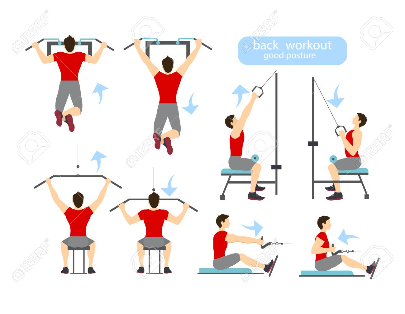 Back Workout Set On White Background Exercises For Men Hard Training Stock Vector