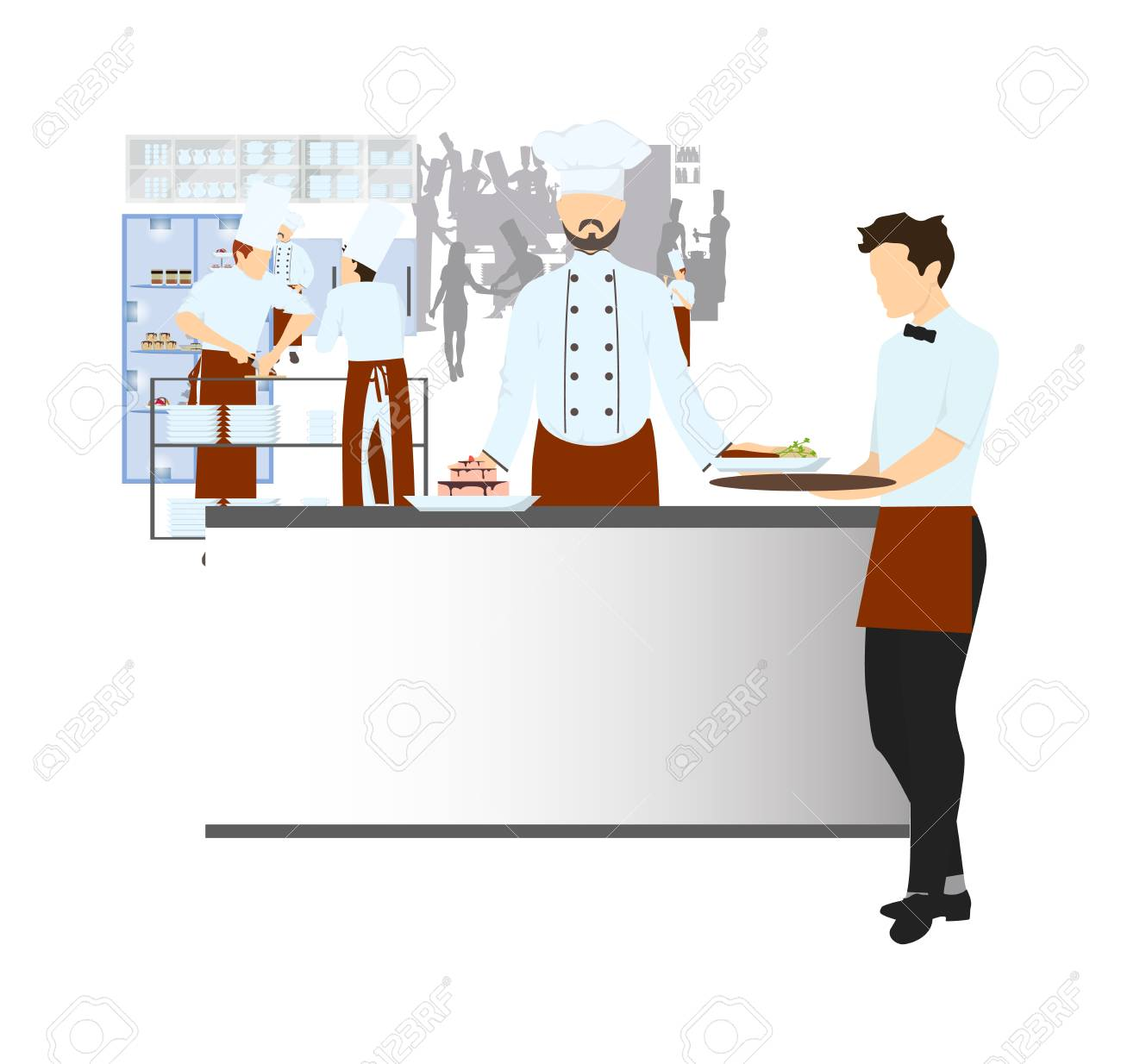 Chef On The Kitchen On White Background. Restaurant Kitchen Interior ...