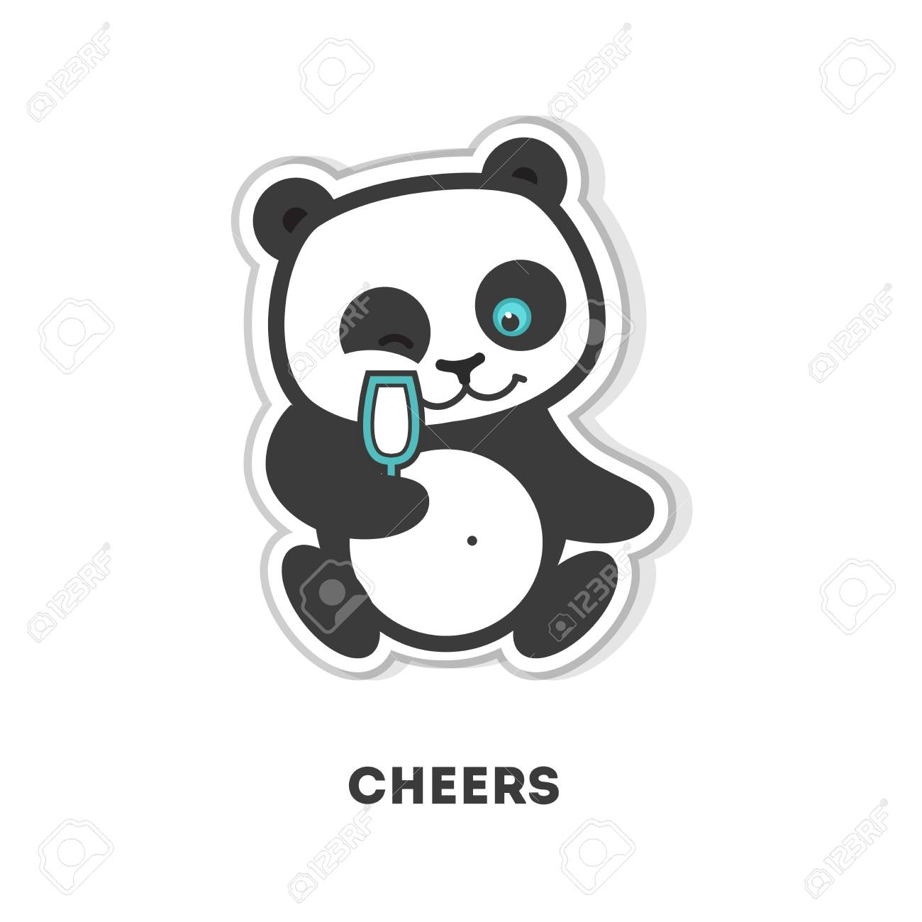 Cheers panda sticker isolated cute sticker on white background stock vector 76756913