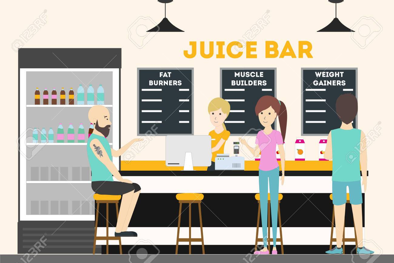 Fitness bar interior fresh juice bar food and drinks for bodybuilders stock vector