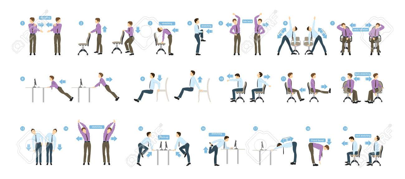 Sport exercises for office. Office yoga for tired employees with chair and table. - 77613755