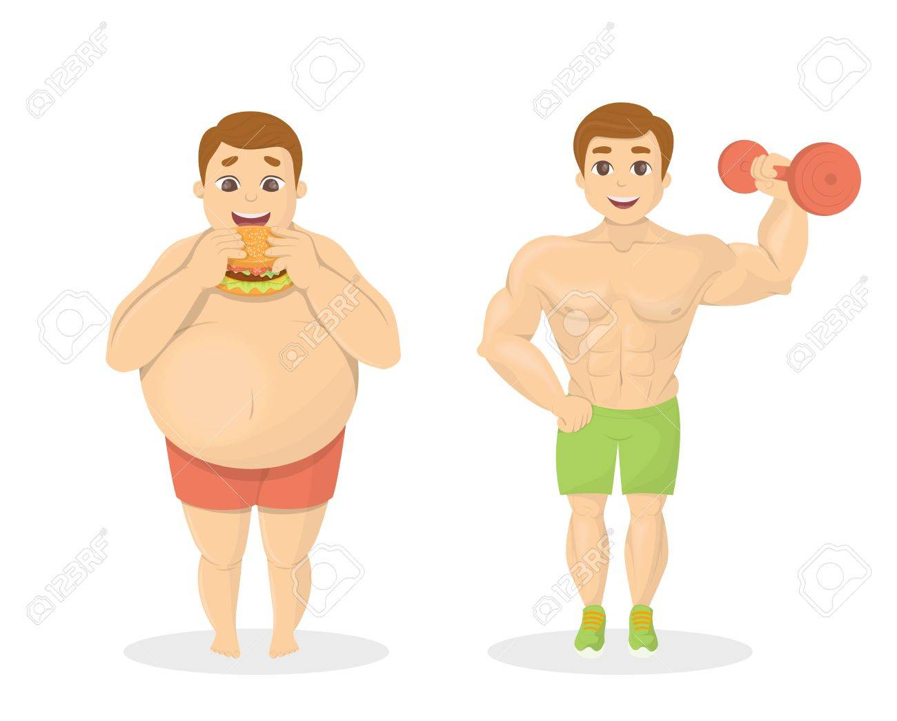 Fat And Fit Men. Obese Man With Junk Food. Fit Man With Dumbell. Royalty  Free Cliparts, Vectors, And Stock Illustration. Image 77615324.