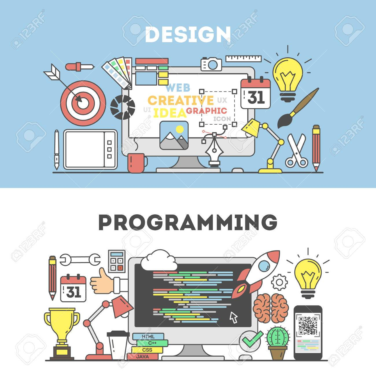 Programming and design concept illustration signs and icons on blue background stock vector