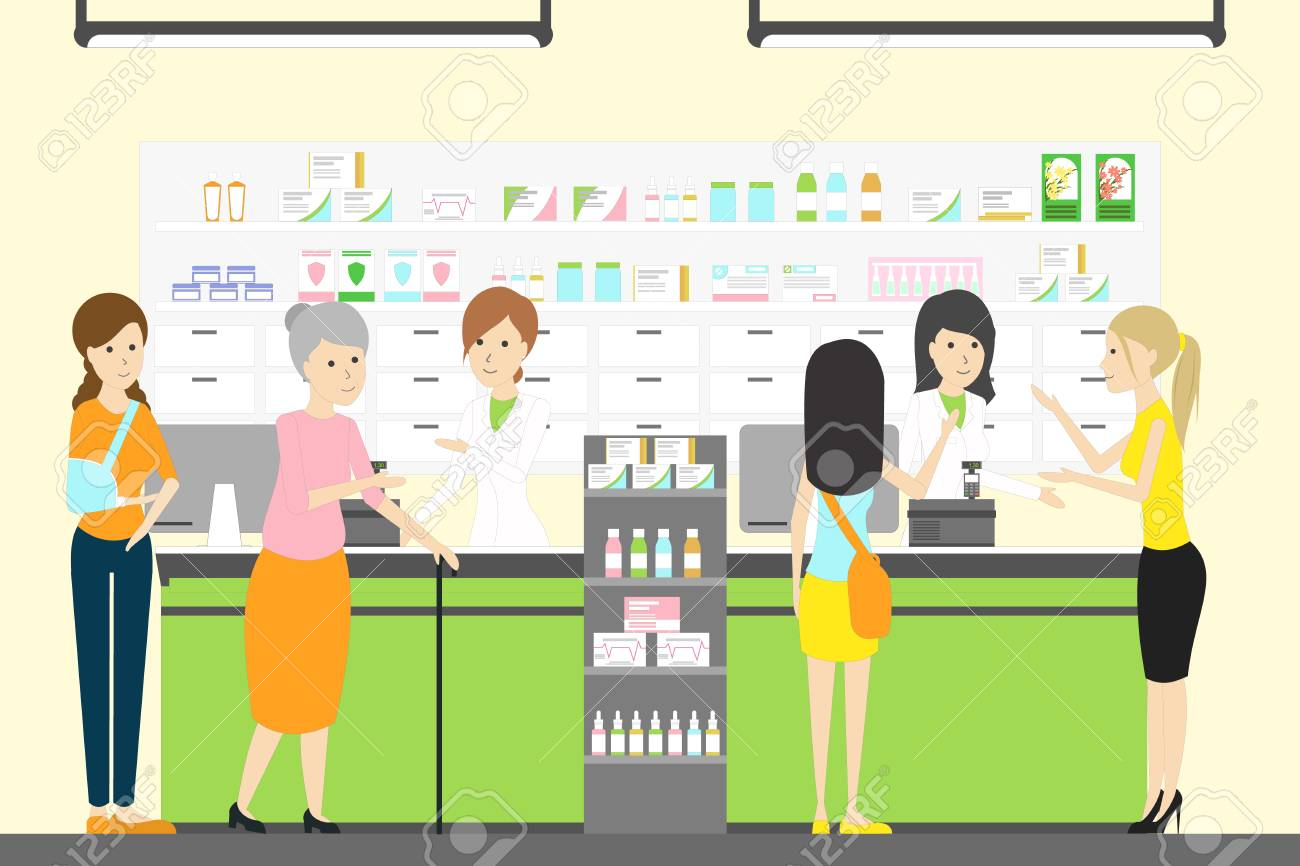 People in pharmacy store. - 80089962