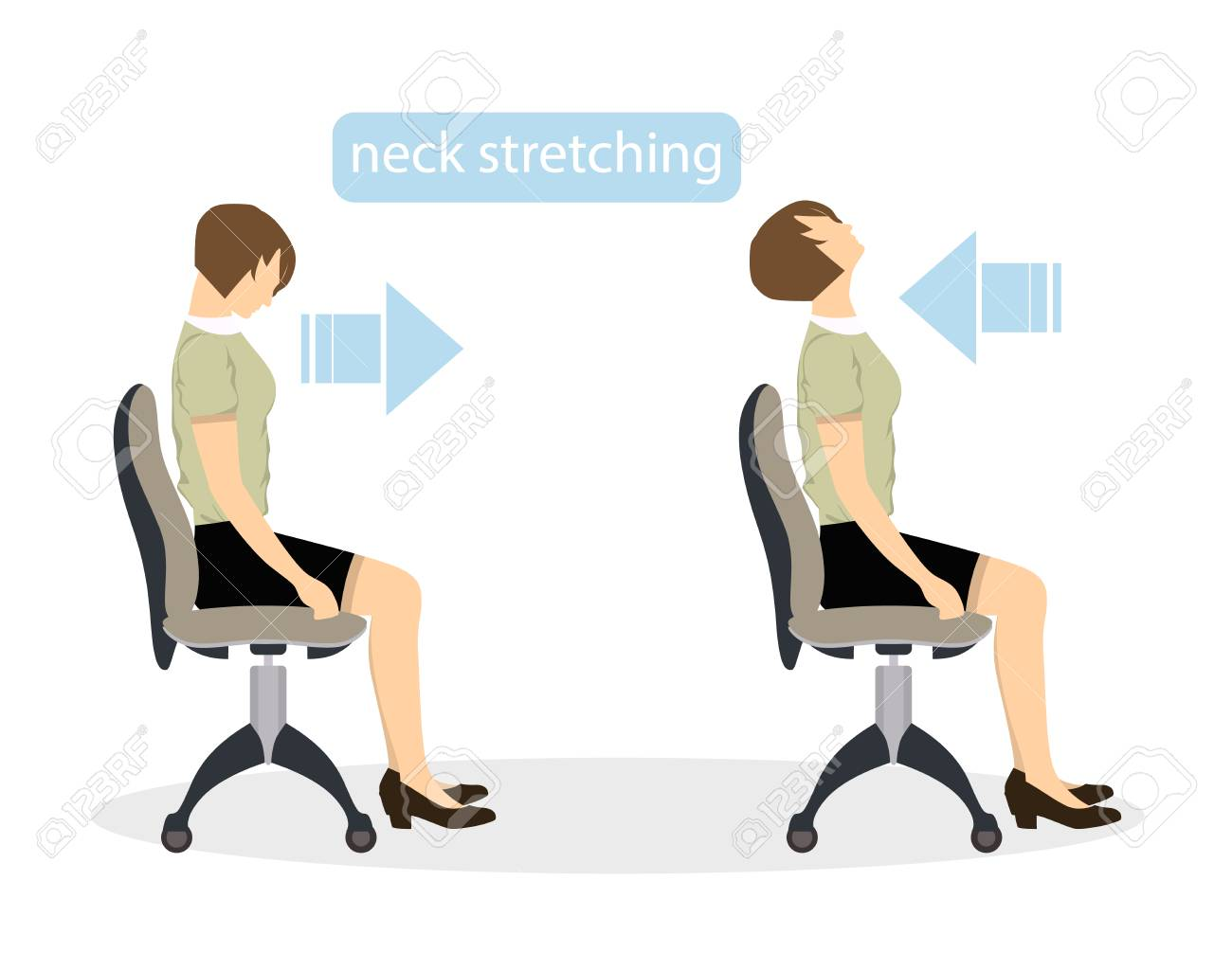 Sport Exercises For Office Office Yoga For Tired Employees With Royalty Free Cliparts Vectors And Stock Illustration Image 82183115