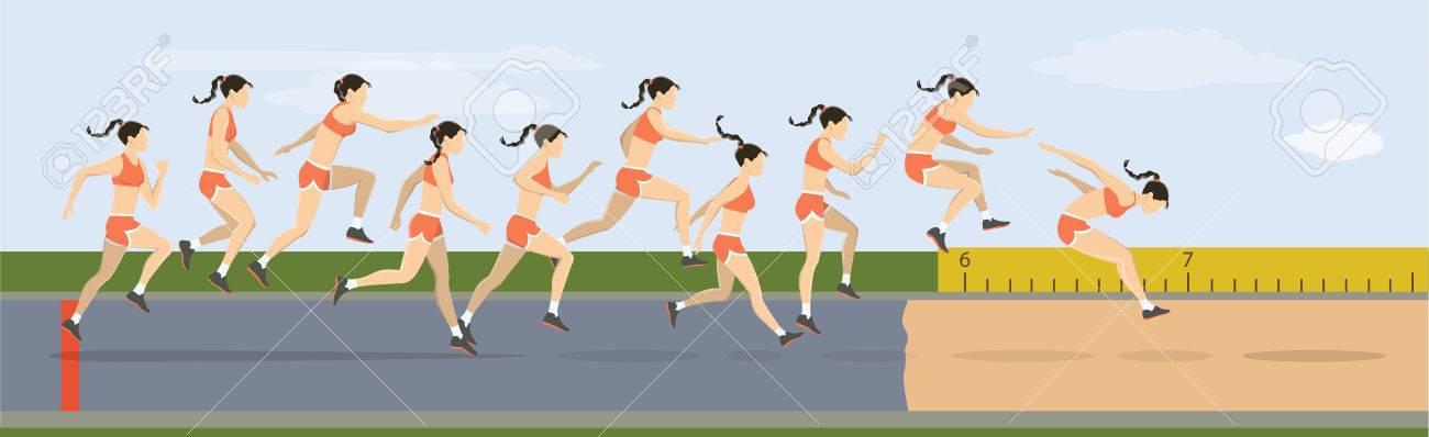 Triple jump moves illustration. Woman jumps in uniform. - 83097660
