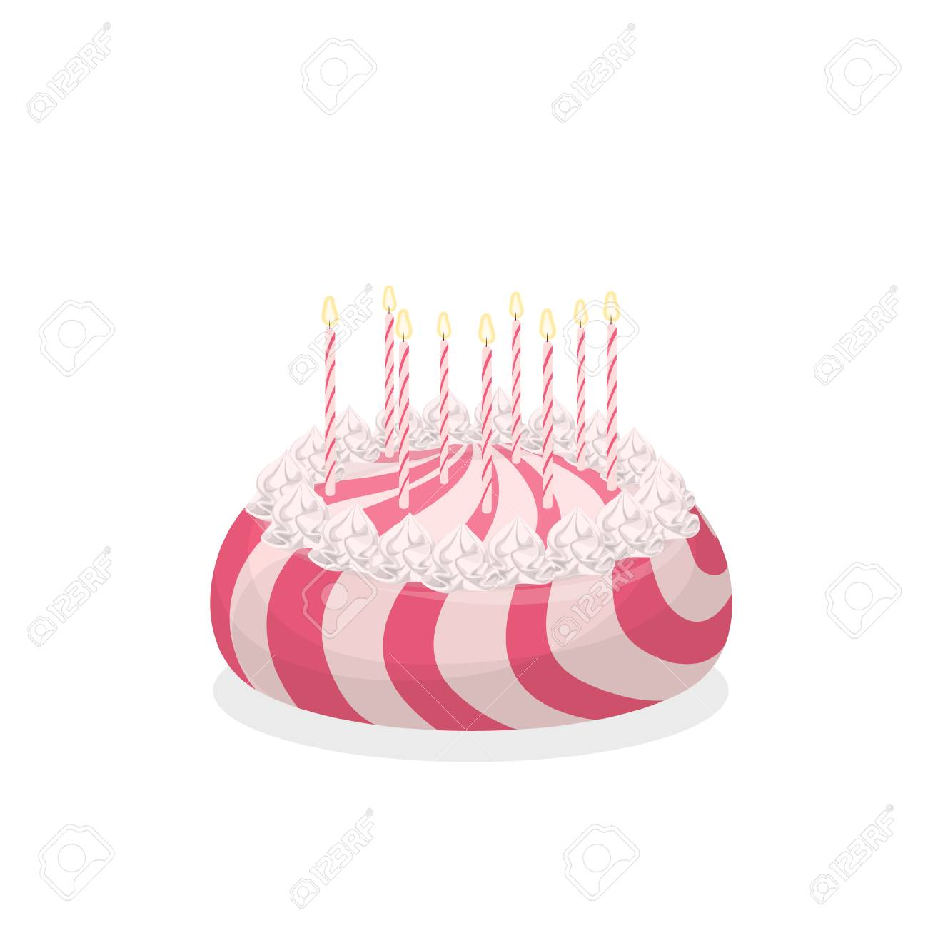 Isolated Birthday Cake On White Background Big Pink And With Candles Stock