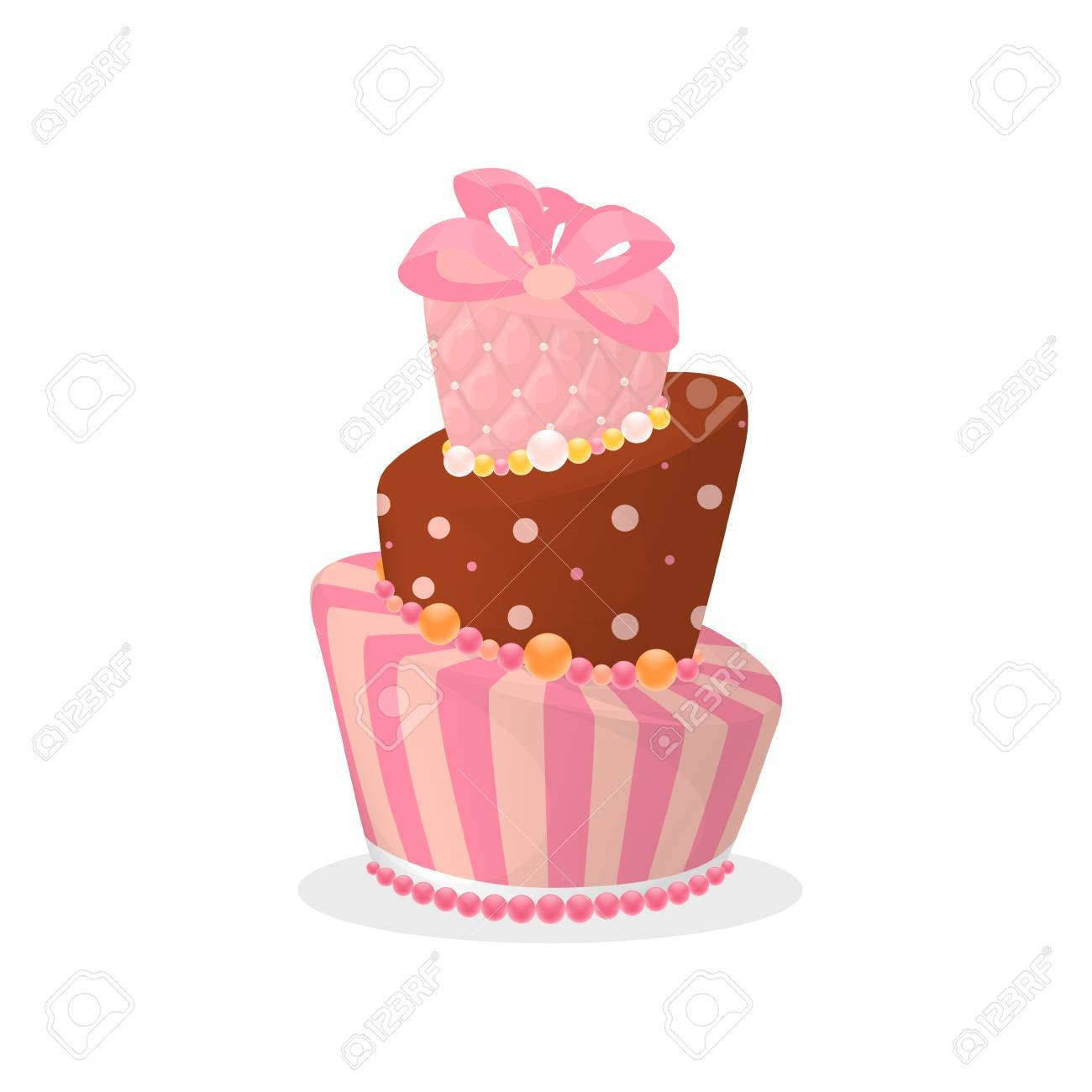 Isolated Birthday Cake On White Background Big Pink Chocolate With Sprinkles And Bow