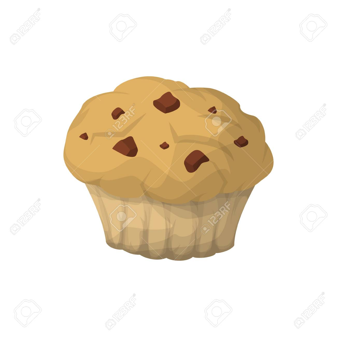 Isolated Breakfast Muffin With Chocolate Chips On White Background Royalty Free Cliparts Vectors And Stock Illustration Image 83876820