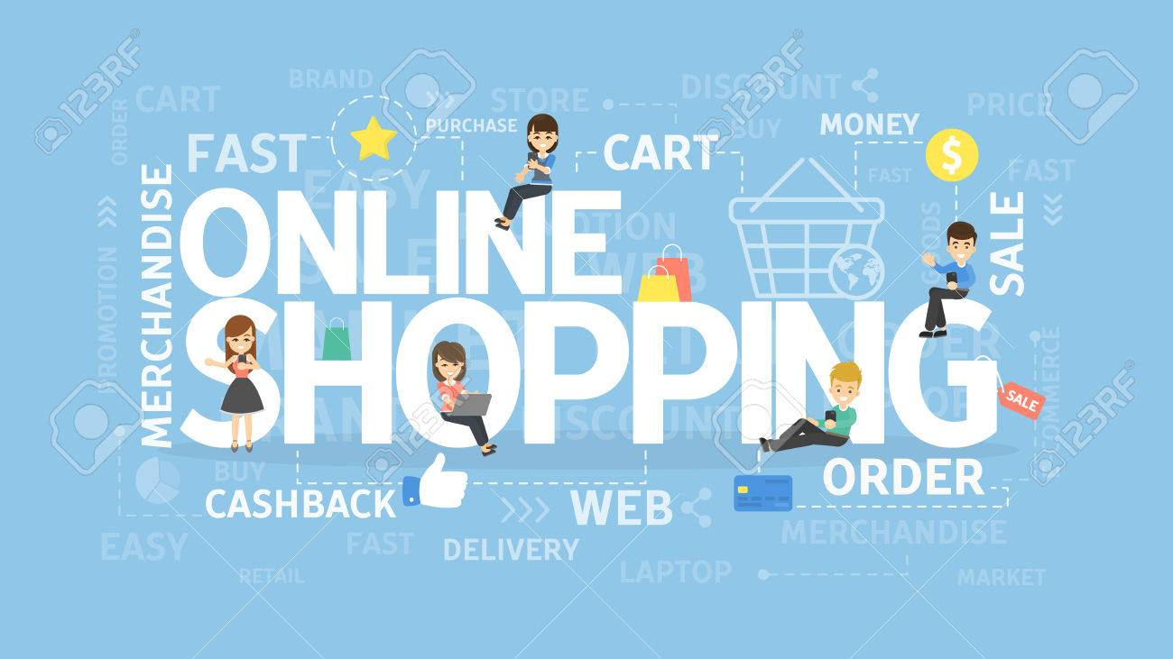 Online Shopping Concept Illustration With Words And People Royalty Free Cliparts Vectors And Stock Illustration Image 83869850