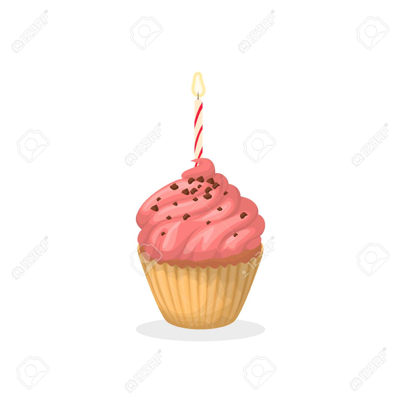 Isolated Pink Birthday Cupcake With Chocolate Sprinkles And Candle