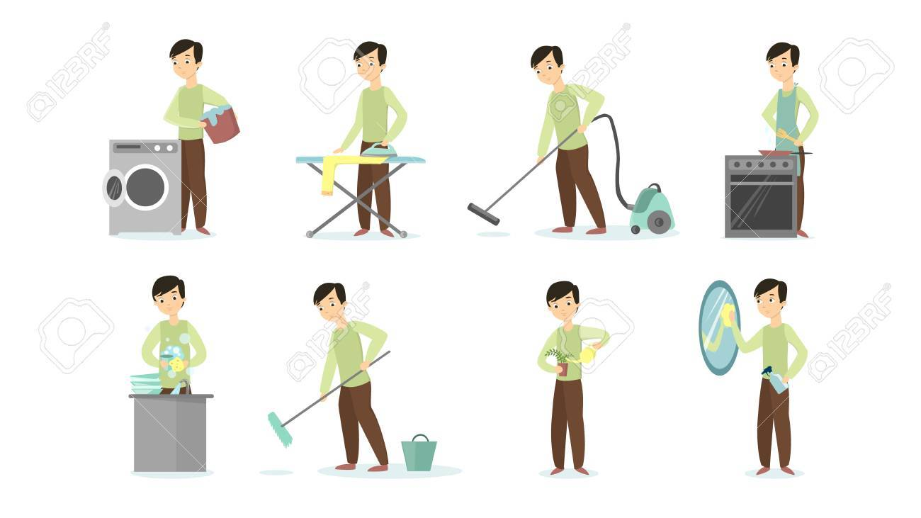 man doing household chores on white background cleaning and