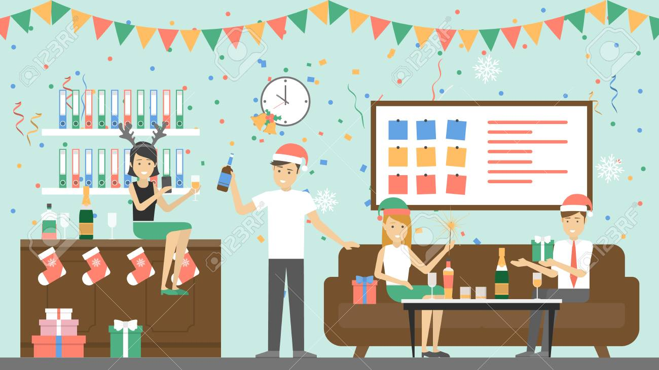 Office Christmas Party. Royalty Free Cliparts, Vectors, And Stock ...