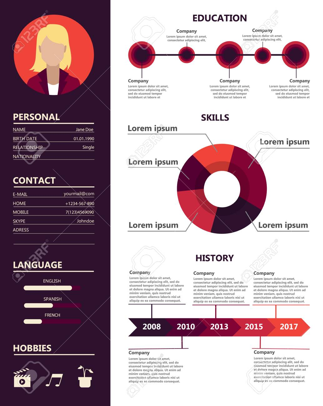 Female Resume Sample Royalty Free Cliparts Vectors And Stock