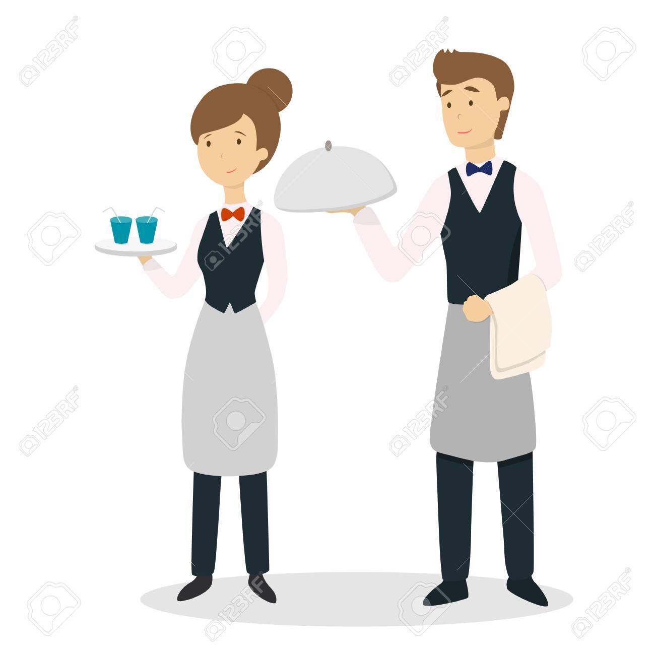 Isolated waiter couple. - 88753583