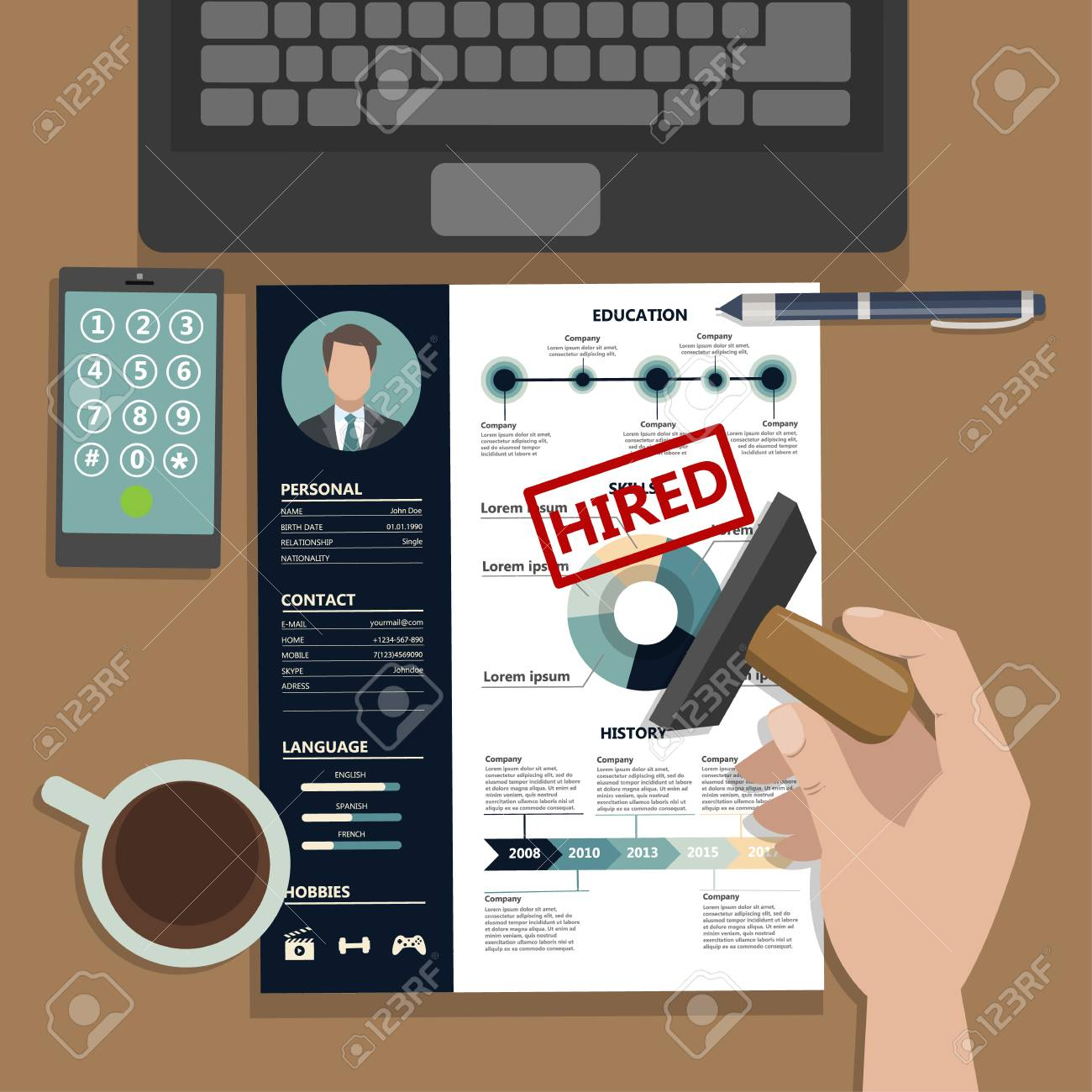 Reanudar Con Aprobación. HR Contratando Nuevo Empleado ...