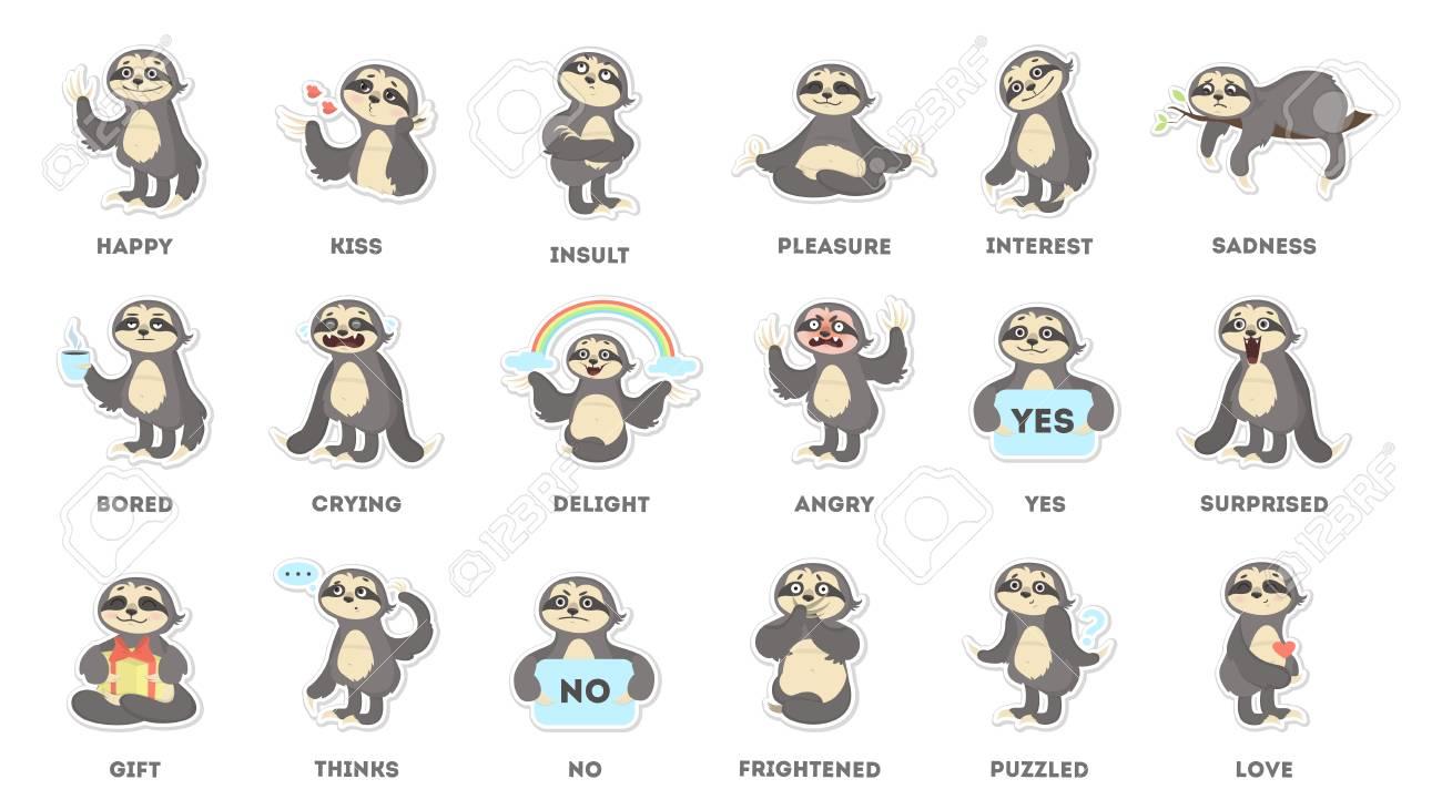 Sloth sticker set stock vector 91459460