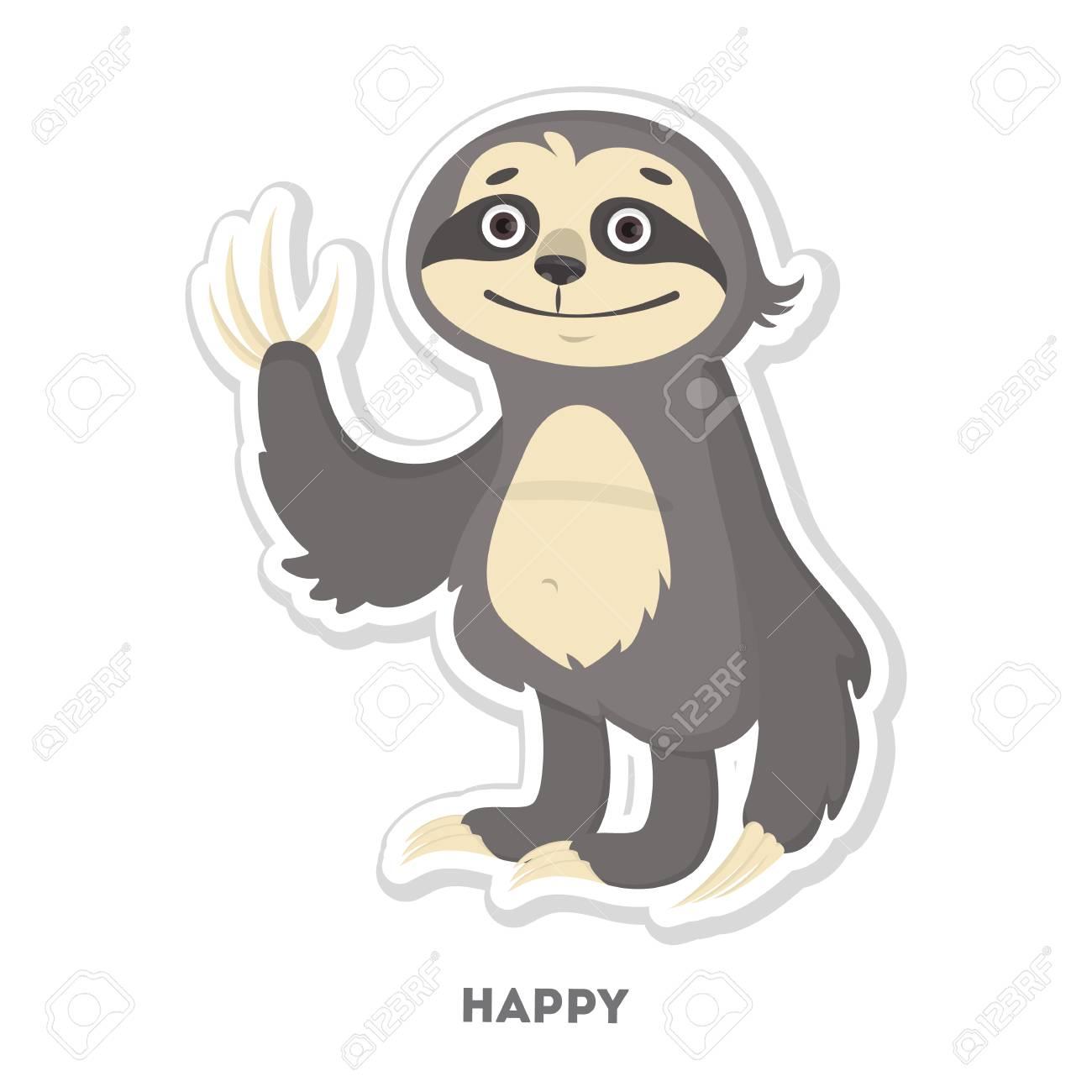 Happy sloth sticker isolated funny cartoon character stock vector 92631015