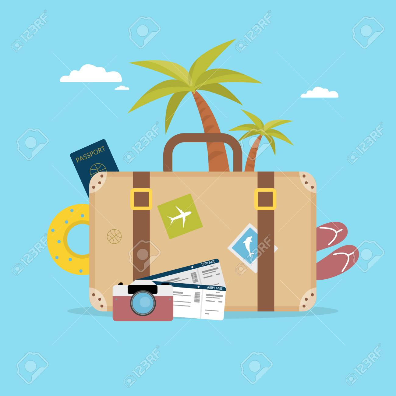 Summer vacation concept. Travel bag with palm, camera and passport. - 92631377