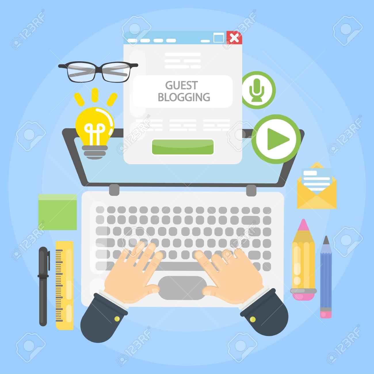 Guest blogging desk on plain background. - 93530720