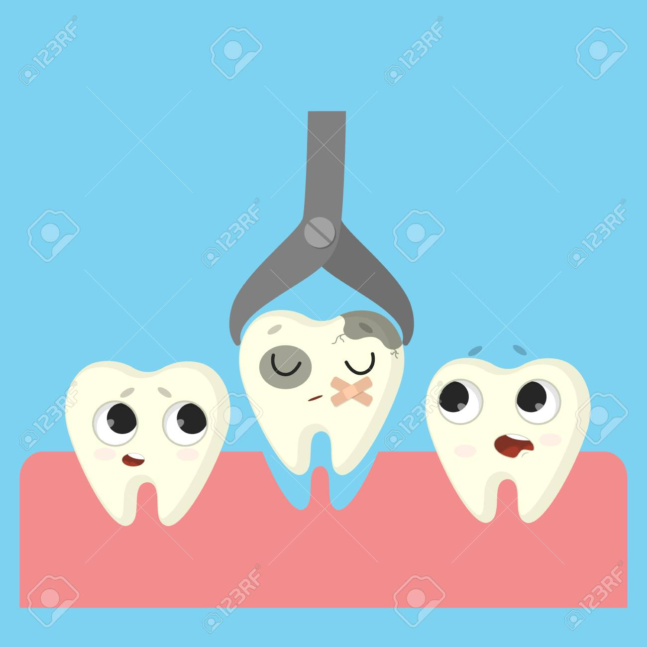 Bad tooth removing. Cartoon funny teeth in mouth. - 93529098