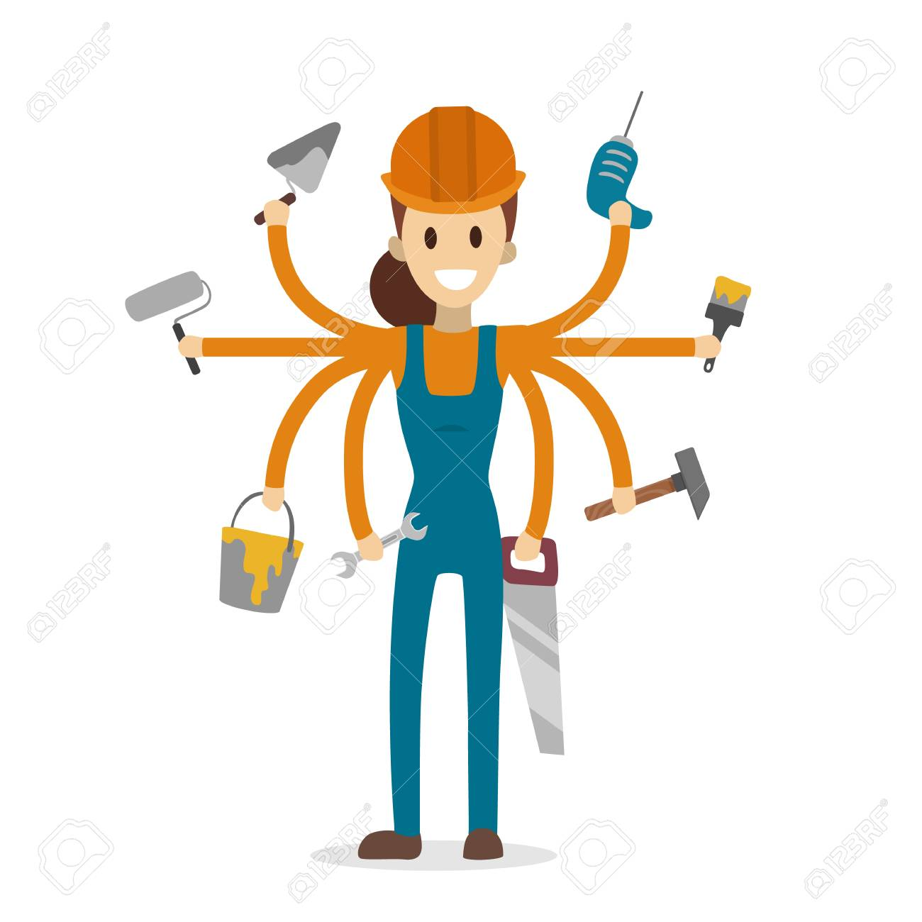 Multitasking Construction Worker With Six Hands On White. Royalty Free  Cliparts, Vectors, And Stock Illustration. Image 94888655.