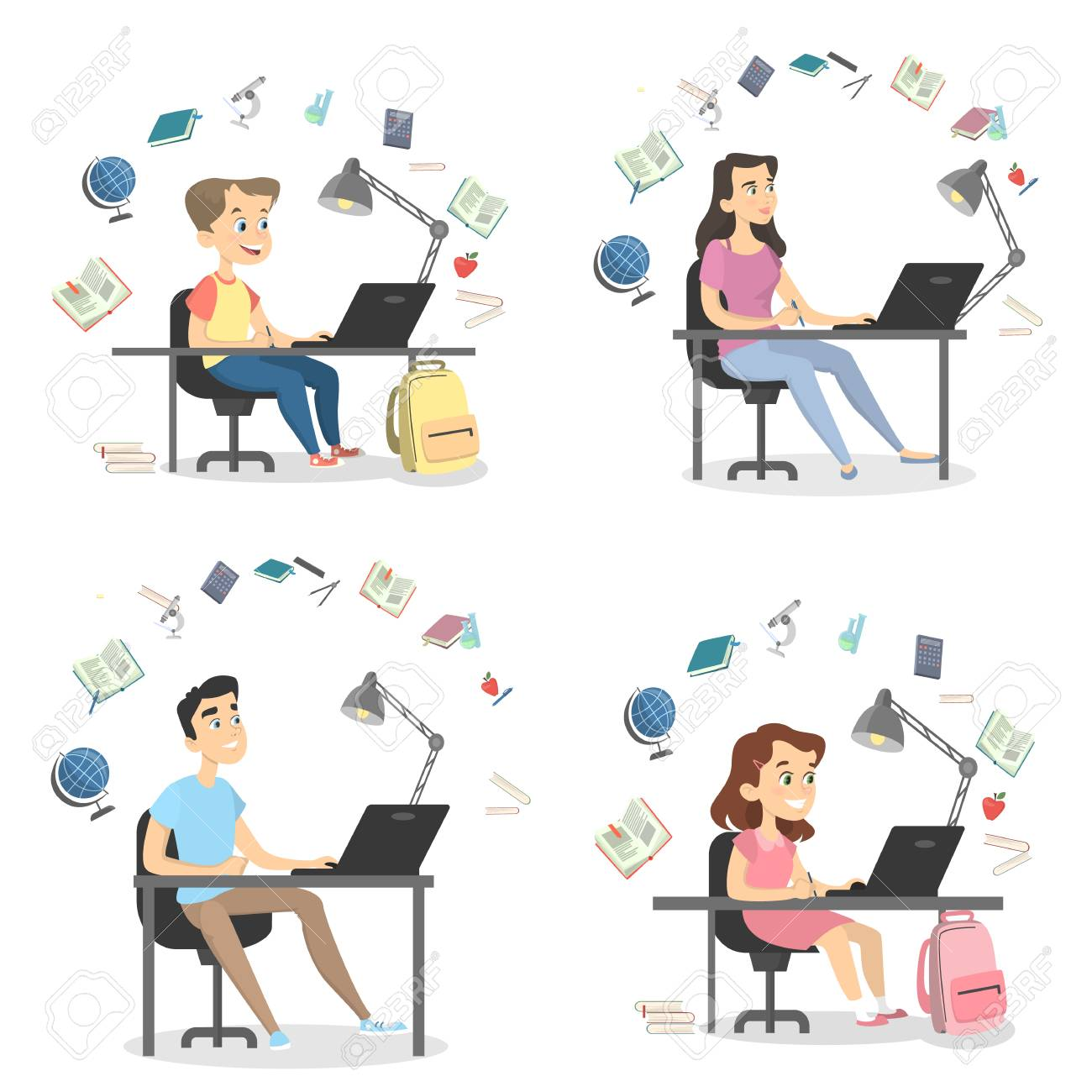 Four people studying set. - 95842073