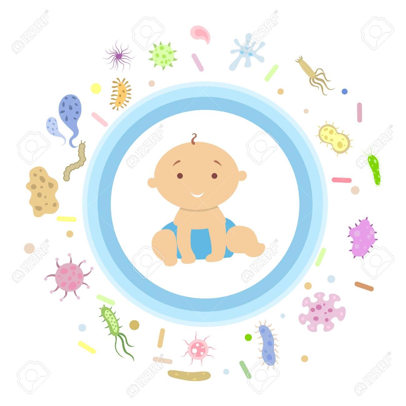 Baby boy under shield. - 97616820
