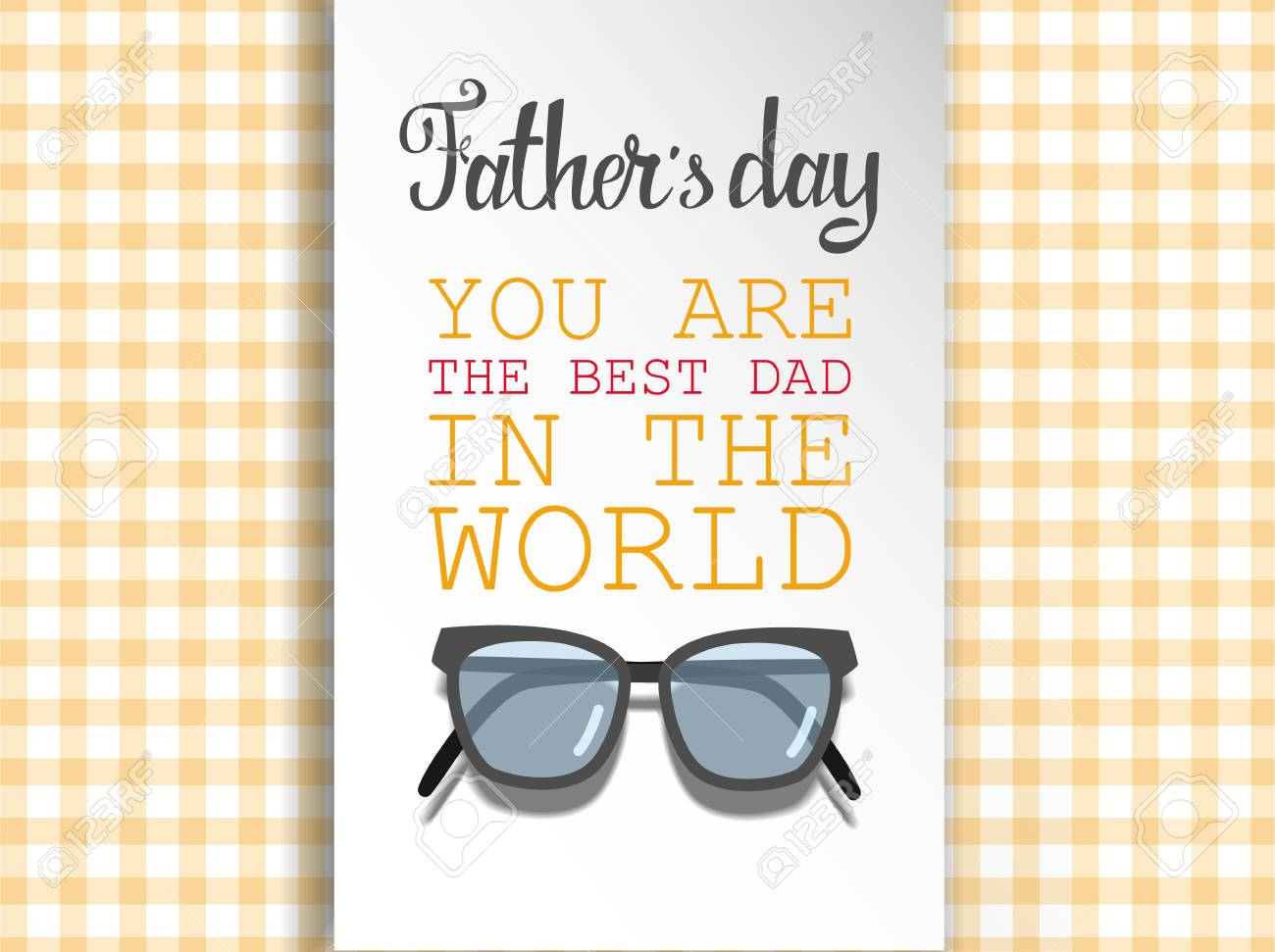 Happy Fathers Day For Greeting Cards On Colored Illustration