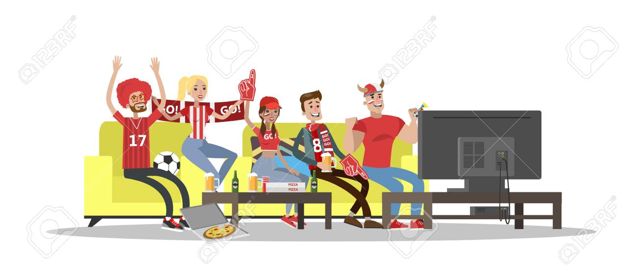 football fans watch tv in home on white background royalty free