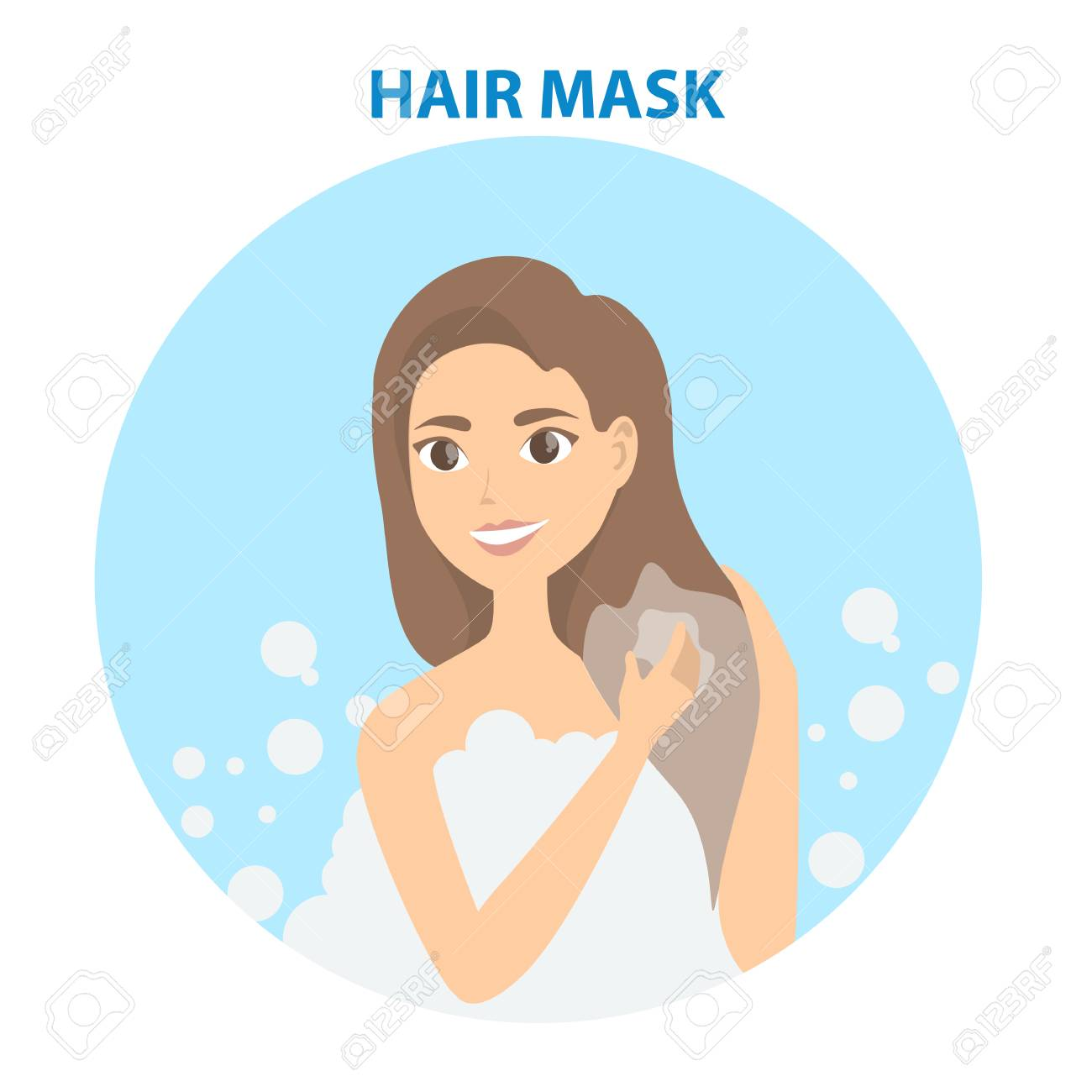 Hair Care Woman Applying Hair Mask On White Royalty Free Cliparts Vectors And Stock Illustration Image 99502354
