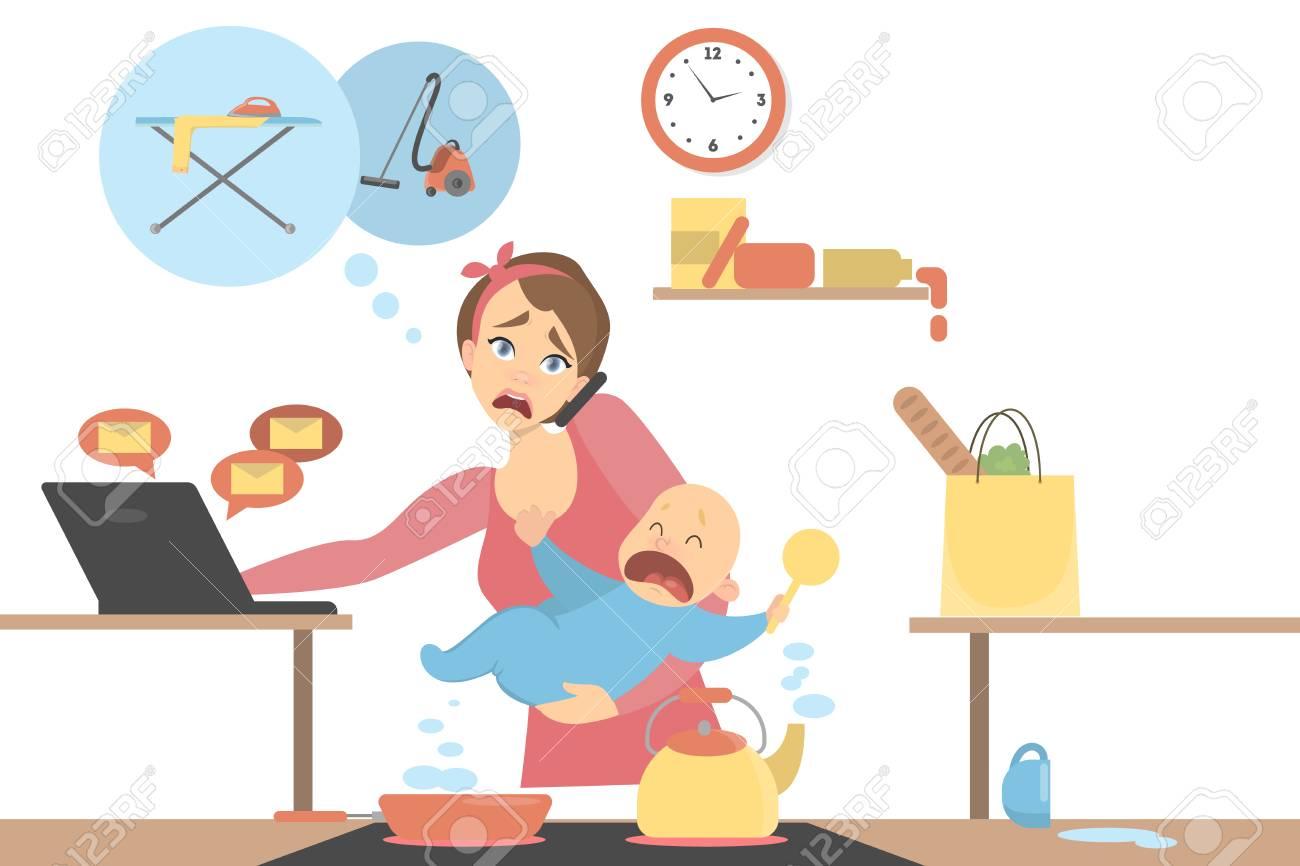 Isolated multitasking mother. Vector illustration. - 99967681
