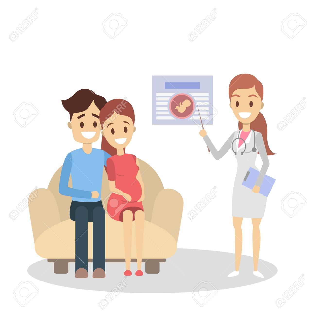 Pregnancy at clinic. Parenthood education with doctor on white. - 115189818