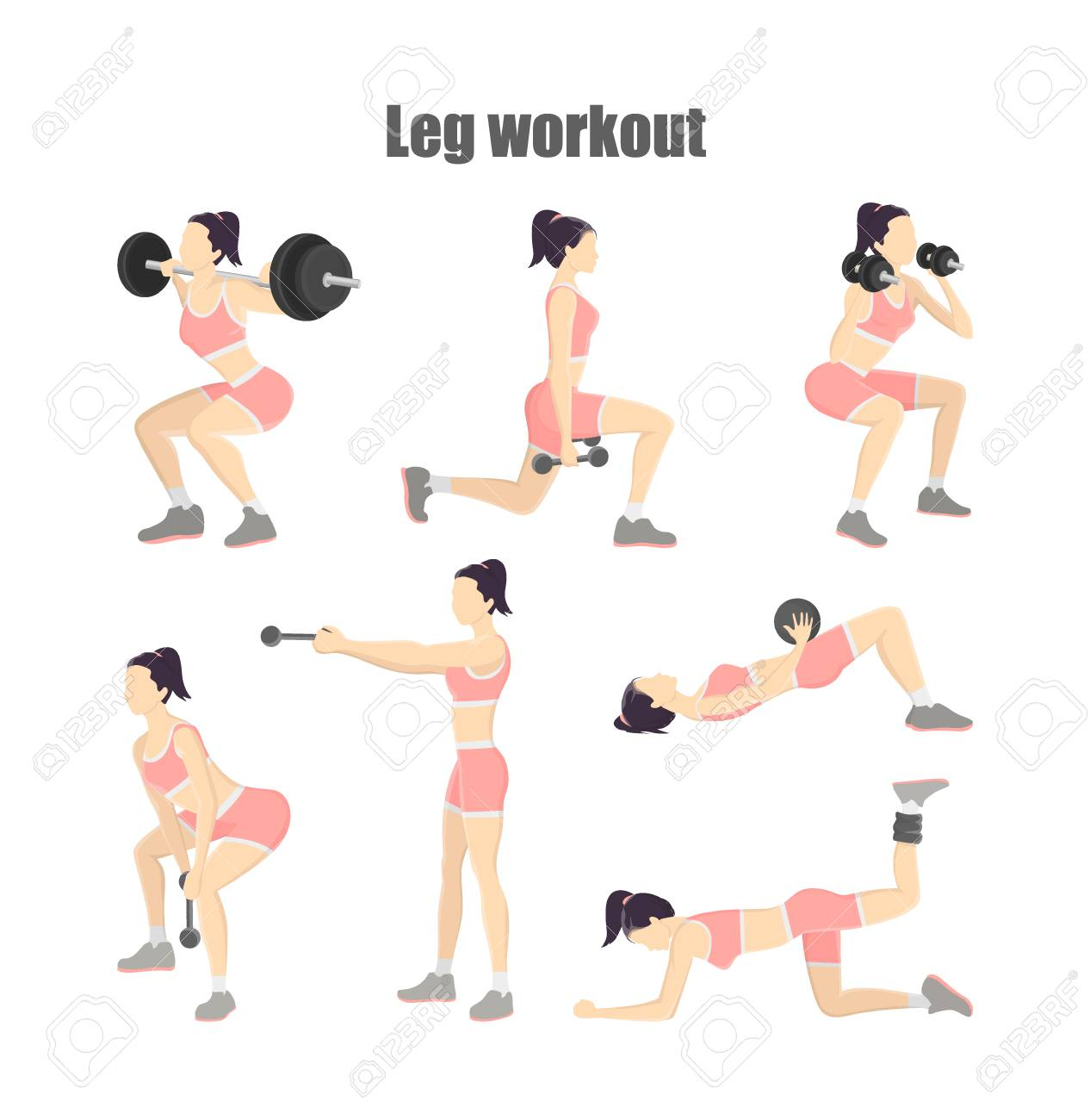 Set of leg workout  Woman doing exercises with dumbbells: donkey
